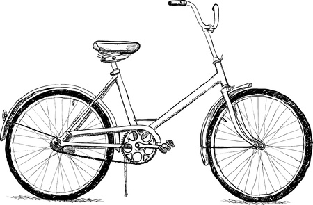 one wheel bike: Old bicycle - the simple vector illustration eps8