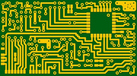 Technological electronic green background for the card Vector