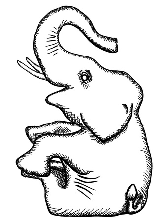 simplified: The simplified monochrome drawing - the stylized elephant Illustration