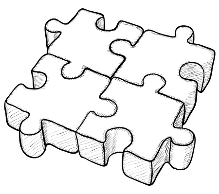 four objects: Shaped monochrome drawing - puzzle elements