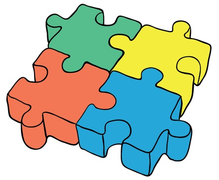 Color toy - a puzzle on a white background Stock Vector - 9210198