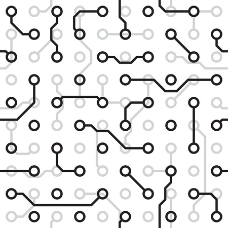 Seamless texture - the circuit board monochrome pattern  Vector
