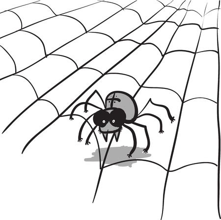 venom: A simple monochrome image - a stylized spider and web Illustration