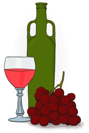 Simple drawing - a bottle and a glass of wine and grapes Vector
