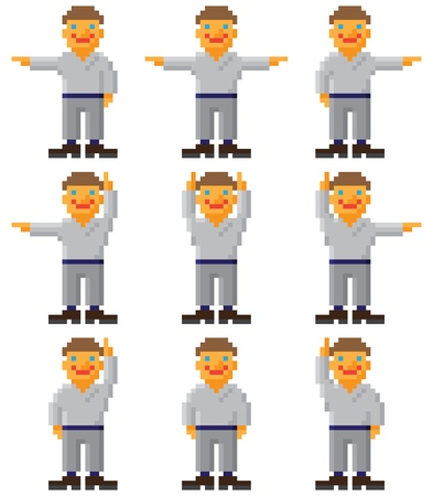 Vector pixel art - a set of gesticulating people on white Vector