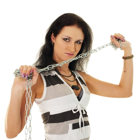 Portrait of a beautiful woman with steel shackles isolated on white background Stock Photo - 9371805