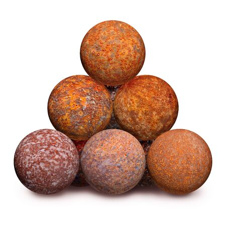 Ten rusty iron cannon balls isolated on a white background photo