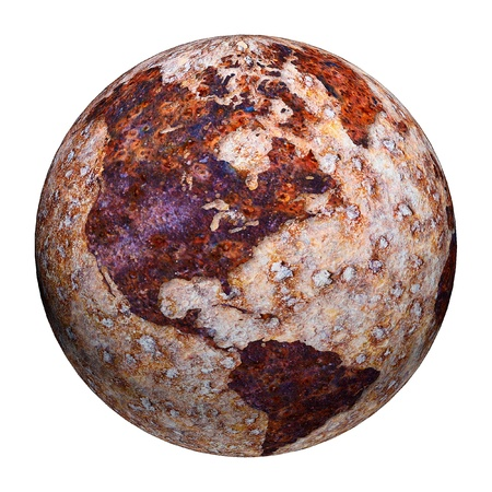 formed: Terrestrial globe formed by corrosion stains on metal Stock Photo