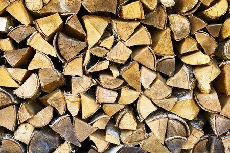 Rural background - stack from dry birch wood Stock Photo - 9413163