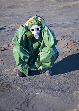 Humanity is on the brink of ecological disaster - sad scientist Stock Photo - 9486602