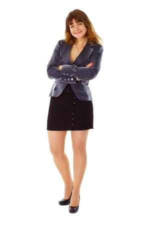short skirt: Joven en negocios seg�n sonriente aislado sobre fondo blanco