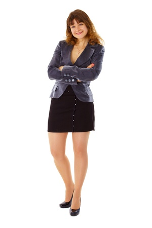 Young woman in business suit smiling isolated on white background Stock Photo - 9598735
