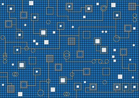 Dark blue hi-tech vector background. Theme of nanotechnology. Stock Vector - 10113354