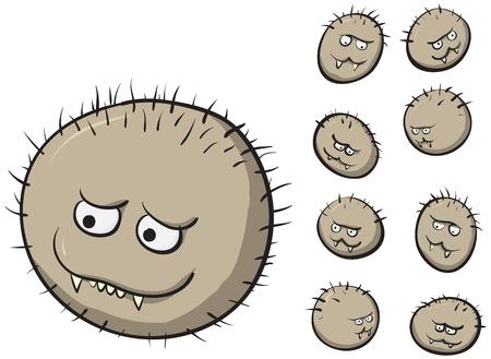 dientes sucios: Imagen vectorial gracioso - germen grande y sus hijos Vectores