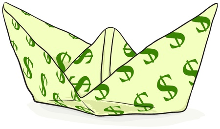 Paper Boat with a dollar sign - vector illustration Stock Vector - 10113352