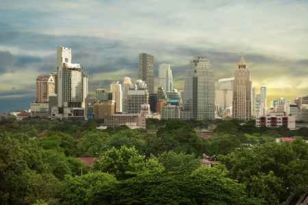 green city: Sunny view - modern high-rise buildings of the city Stock Photo