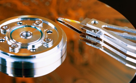 microscopical: The surface of the hard disk - an unusual lighting