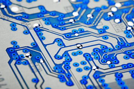 microscopical: The surface of the electronic card photographed at an angle Stock Photo
