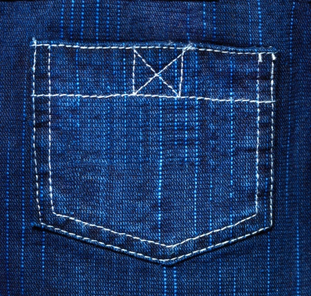 cotton texture: Back pocket of jeans - the background of rough blue fabric