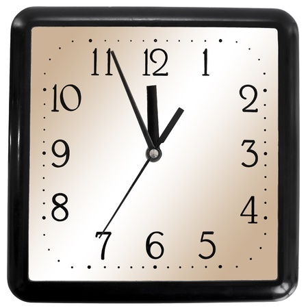 Simple square clock isolated on white background photo