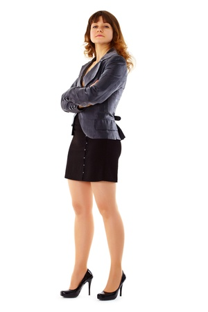 proud: Proud young woman in a business suit isolated on white background