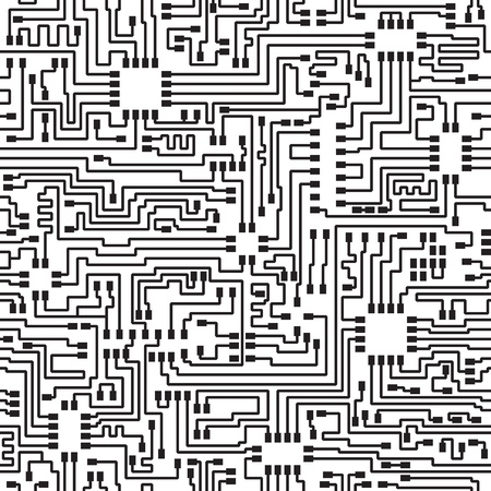 geometric: Seamless hi-tech electronic monochrome pattern - vector eps8