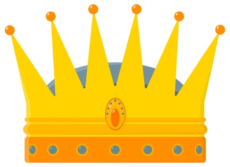 violet icon: A stylized golden royal crown - vector illustration