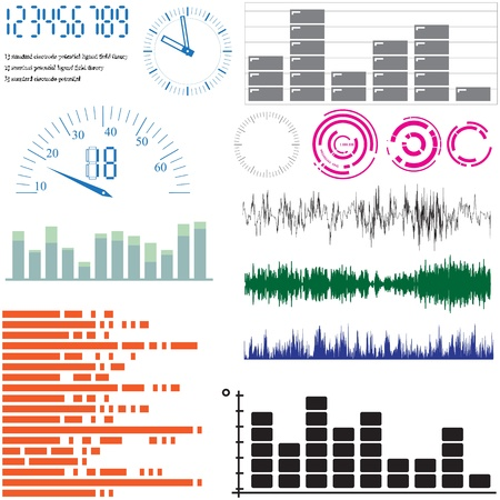 sound wave: Set of vector elements for design - equalizers, arrows, scales