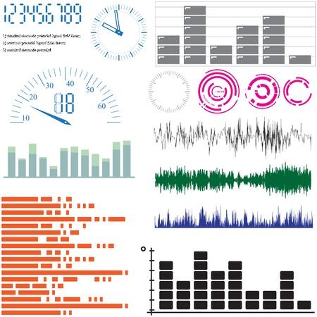 geluid: Set van vector elementen voor ontwerp - equalizers, pijlen, weegschalen
