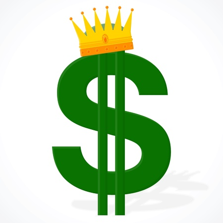 Currency symbol - the dollar on a white background with a royal crown Vector