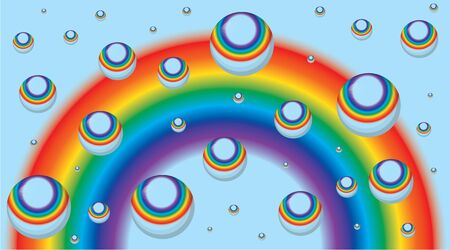 Background for a business card with a rainbow and drops Vector