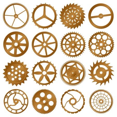 reloj antiguo: Conjunto de elementos para el diseño - engranajes de cobre reloj
