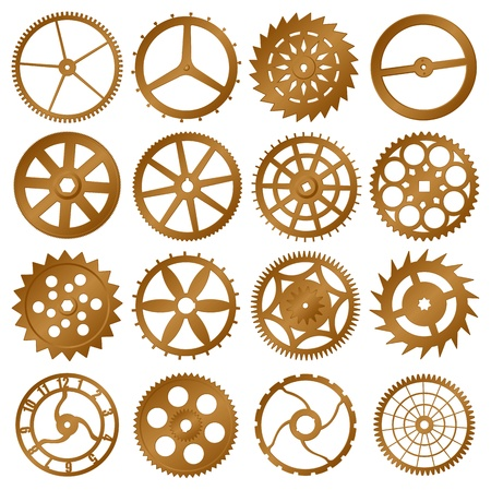 old watch: Set of elements for design - copper watch gears