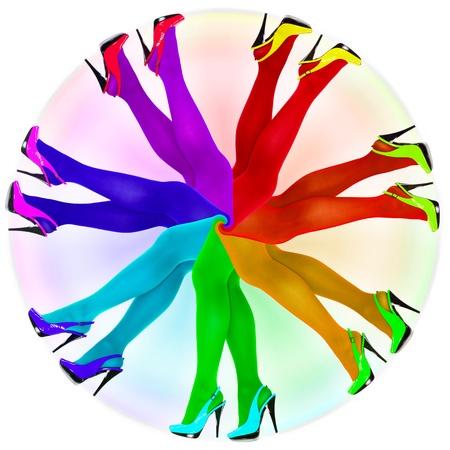 pantimedias: Composici�n abstracta - los colores del arco iris medias Foto de archivo