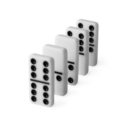 Dominoes set in a row isolated on white background photo