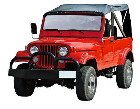 off road vehicle: Red road vehicle isolated on a white background