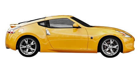 Yellow car sport coupe isolated on white background photo