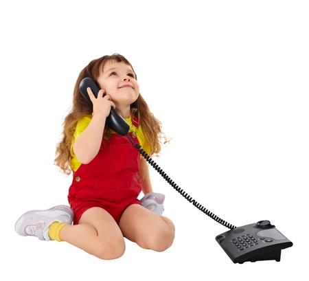 Kind spricht am Telefon isoliert auf weißem Hintergrund Standard-Bild - 11244413