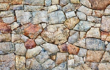 Texture - a wall made of natural rough stone photo