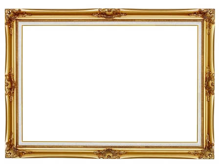 Old gilded frame for painting isolated on white background photo