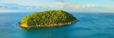 A large tropical island with a bird's-eye view photo