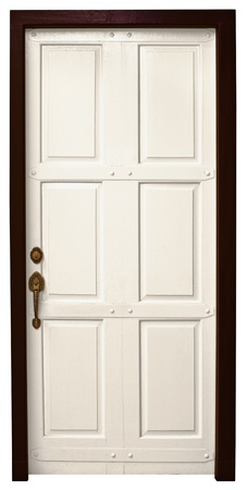 An ordinary wooden door isolated on white background Stock Photo - 11438813