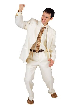 gleeful: Gleeful businessman in a white suit