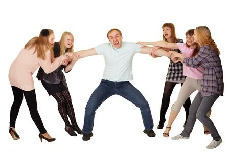 Fröhliche Familie Spaß auf weißem Hintergrund Standard-Bild - 11438854
