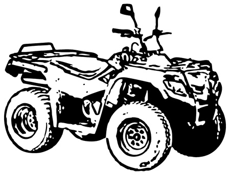 Rough monochrome image - four-wheel motorbike. Vector. Vetores