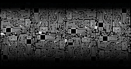 Ornament - electronic circuit boards - silver black theme Vector