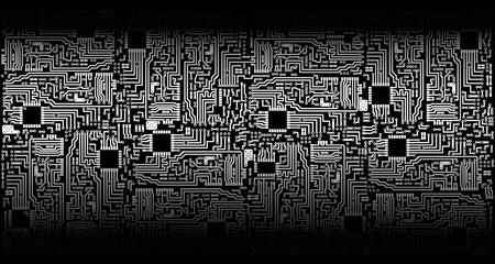electronic circuit: Ornament - electronic circuit boards - silver black theme