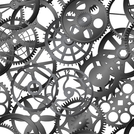 Seamless texture - many metal watch gears - eps8 vector Vector