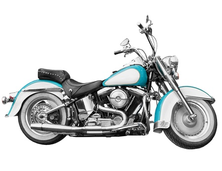 chrome wheels: Vintage motorcycle - chopper isolated on white background Stock Photo