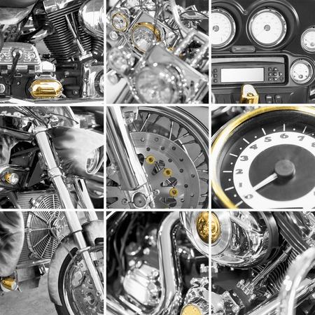 Eine Collage aus Fragmenten alter Motorräder Standard-Bild - 12295227